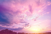 Colorful cloudy sky at sunset. Gradient color. Sky texture. Abstract natural background