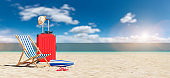 beach chair with suitcase and flip-flops on empty sand at the beach under blue sky. copyspace for your individual text.