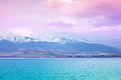 Beautiful snowy mountains against a sunset sky. Liptov sea, Slovak Republic, Europe