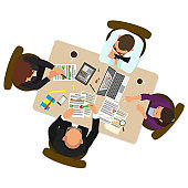 Group of business people working in office table.