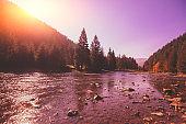 Mountain river on an autumn sunny day. Nature landscape. Carpathian Mountains, Ukraine, Europe