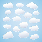 Set of white sky clouds. Cloud icons or shapes. Set of different cloud collections. Vector illustration. Eps 10 vector file.
