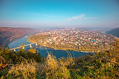 Amazing urban nature landscape. Fantastic panoramic aerial view on Zalishchyky city and the Dniester river meander on an autumn sunny day. Dniester Canyon national park, Ternopil Oblast, Ukraine