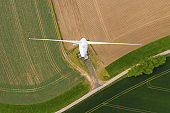 top aerial view of wind turbine