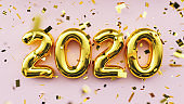 Happy New 2020 Year. Holiday golden metallic numbers 2020 and confetti on pink background