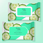 Vector Antibacterial Alcohol Wet Tissue or Beauty Make up Removal Wipe Resealable Label or Plastic Lid Packaging. Cucumber Pattern Printed.