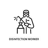 Disinfection worker flat line icon. Vector illustration of a man in protective coveralls wearing a respirator and holding a disinfectant. Pest control service