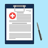 Clipboard with medical cross and pen. Clinical record, prescription, claim, medical report, health insurance concepts. Vector illustration