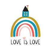 Rainbow with lettering phrase and little house. Love is All card. Vector Illustration