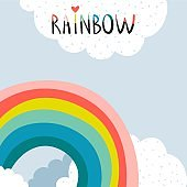 Creative rainbow illustration with lettering. Childish print for apparel, poster, nursery decoration. Vector card