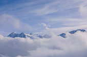 Beautiful winter High mountain landscape Snow on the top of  ski resort. Alps, Dolomite, Italy, Europe