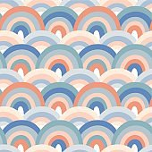 Seamless pattern with hand drawn rainbows. Creative texture for fabric, wrapping, textile, wallpaper, apparel. Vector illustration