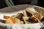 A bread basket on an italian table