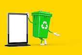 Recycle Sign Green Garbage Trash Bin Character Mascot with Blank Trade Show LCD Screen Stand as Template for Your Design . 3d Rendering