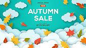 Autumn sale blue background