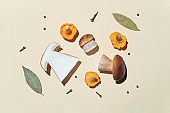 Flat lay of mushrooms and seasonings for pickles on a light background with a harsh shadow: chanterelle, porcini, greens, bay leaf, cloves, peppers