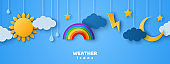 Cartoon paper cut weather icons