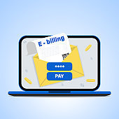 Online bill payment. Concept of electronic invoice and internet banking, laptop with invoice. vector illustration.