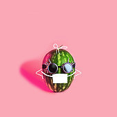 Summer watermelon in a protective mask and glasses on a pink background. Concept on the theme of protection.