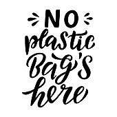 No plastic bags here lettering card.