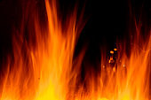 Smooth Fire Flames & sparks Background on Black for compositing designs