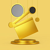 Golden Movie Clapper Board on a Golden Pedestal with Hanging Abstract Circles. 3d Rendering