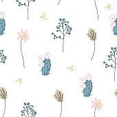 Seamless pattern  botanicals and little flowers