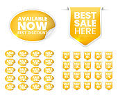 Set of High Quality Realistic Golden Labels on White Background