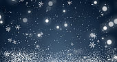 Snowflakes and bokeh lights on the blue Merry Christmas background. 3D rendering 3D illustration