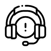 distracted by music headphones icon vector outline illustration