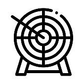 Arrow In Center Of Target Icon Thin Line Vector
