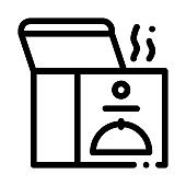 thermal food box icon vector outline illustration