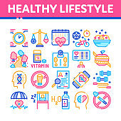 Healthy Lifestyle Collection Icons Set Vector