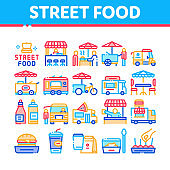 Street Food And Drink Collection Icons Set Vector