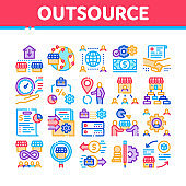 Outsource Management Collection Icons Set Vector