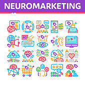 Neuromarketing Business Strategy Icons Set Vector