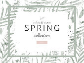 spring trendy hand drawn background textures and floral elements imitating watercolor paintings