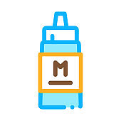 squeezes bottle of mayonnaise sauce icon vector outline illustration