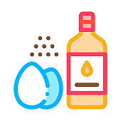 butter eggs and peppers cooking homemade mayonnaise icon vector outline illustration