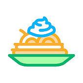mayonnaise seasoning food plate icon vector outline illustration