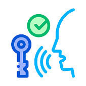 Security System Voice Control Icon Vector Illustration