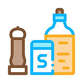 kitchen spices icon vector outline illustration