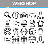 Webshop Internet Store Collection Icons Set Vector