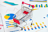 Concept of reports and sales charts for chain grocery stores