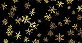 Golden snowflakes on black background. New year wallpaper. 3d render