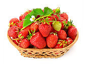 Basket with sweet ripe strawberries