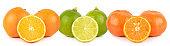 Fruits orange, mandarin, lime whole and half