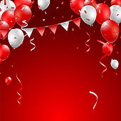 Realistic High Quality Poster Design with Red and White Balloons on Colored Background