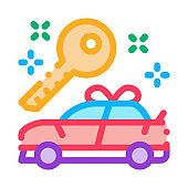 Gift Car Icon Vector Outline Illustration