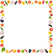 Square frame ripe fresh vegetables and fruits